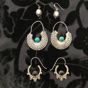 3 Earrings Bundle Silver Tribal